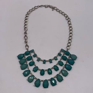 Statement Bob Necklace Faceted Aqua Stones Modern